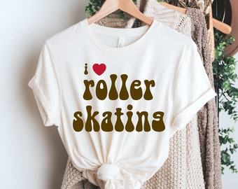 i love roller skating t-shirt / i love skating tees / retro t-shirts / retro tees / old school gifts / skater tees / graphic tee
