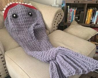 Crochet Shark Blanket/Child Shark Blanket/Adult shark Blanket/MultiColored Shark Blanket