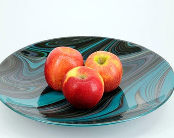 """Art Glass Bowl - fused - 15 1/2"""" diameter x 2"""" deep - made with fusers reserve, limited run glass"""