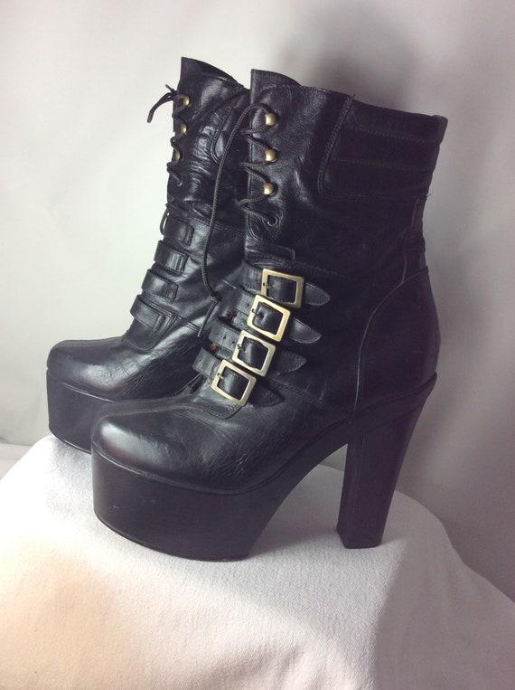 El Dantes Vintage Platform High Heels Boots