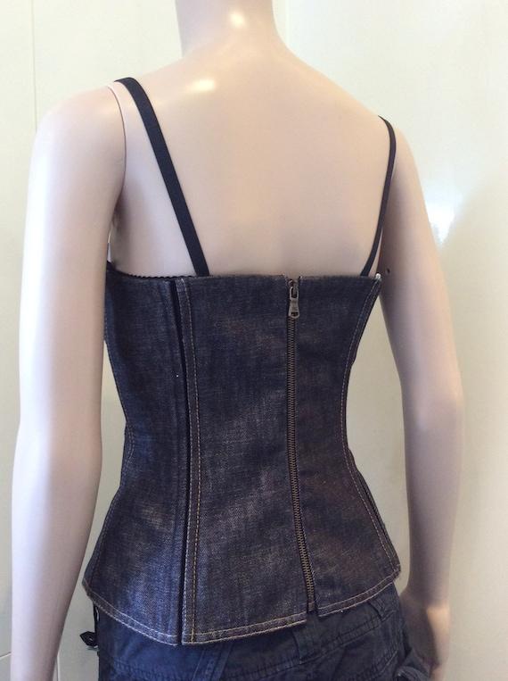Dolce & Gabbana corset top lace up denim - image 3