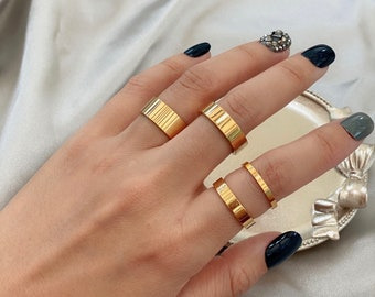 Gold Band Ring,Gold frosted Ring,Gold Band for Man,Thick Ring,Thin Ring,Simple Gold Ring,Couple Ring,Chunky Ring,Dainty Ring,Bold Ring