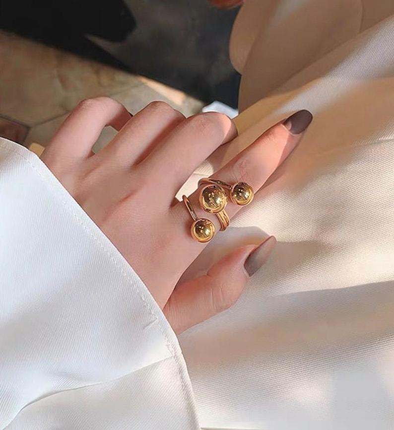 GoldChunky Ring,Adjustable Ring,Spiral Ring,Gold Round Ball Ring,Gold Geometric Ring,Gold Ring,Chic Designer Ring,Statement Ring,Wrap Ring