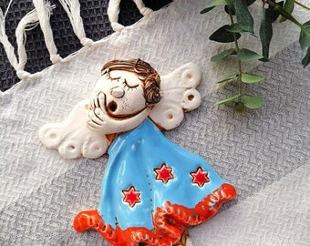 Home interior gifts. Unique handmade angel will act as a friend in your prayer Modern ceramic angel figurine