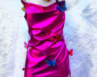 Pink Butterfly Goddess Bodycon Mini Dress