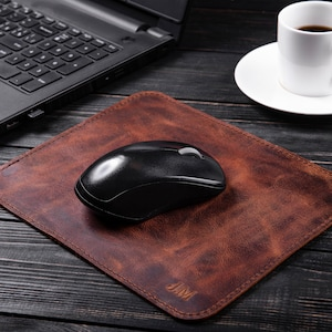 Harley   leather mouse mat Brown veg tan leather Birthdays gifts for him biker  pad for him engraved  mouse mat,Fathers day Gifts