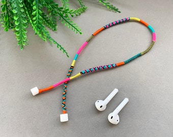 Handmade Anti-Loss Strap for AirPods Earbuds / Wrapped Yarn Wireless Headphones Cord / AirPod Strap