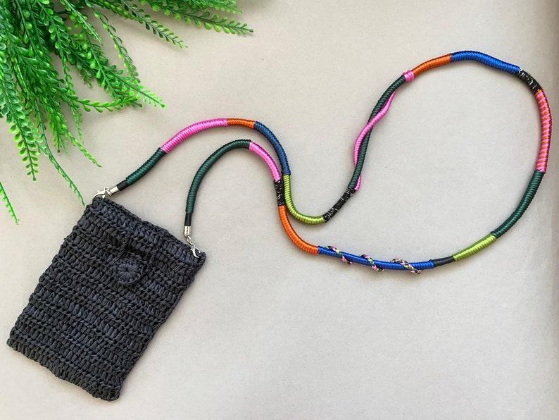 Black Hand Woven Raffia Bag with Wrapped Strap  Crossbody Phone Bag  Cell Phone Bag  Mini Straw Bag  Travel Bag  Boho Cell Phone Purse