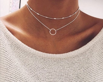 Double strand Choker • Double Layer Necklace • Two Layer Short Necklace • Multi Layer Choker in Gold and Silver • Satellite Chain