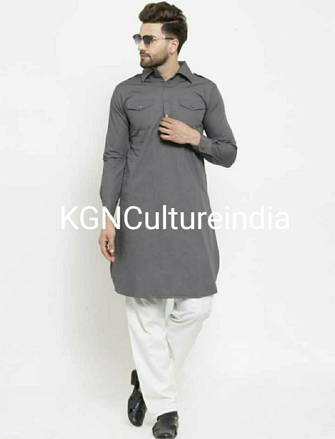 New Indian long pathani Kurta round neck collar simpal look and altimet pes for Indian look designs patani  Kurta white color