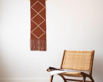 Terracotta Large Macrame Wall Hanging, Trendy Textile Wall Art, Modern Macrame Abstract Wall Art