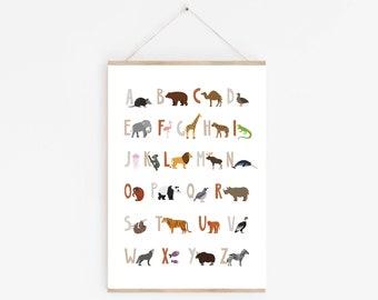Animal Alphabet Print, Animal Alphabet Poster, Safari Alphabet, Animal ABC, Playroom Decor, First Birthday Gift, Kids Educational Print