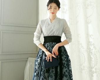 Modern Hanbok Skirt Green Flower Woman Female Korea Hanbok Dress Casual Daily Wrapped Skirt  85 cm CHIC