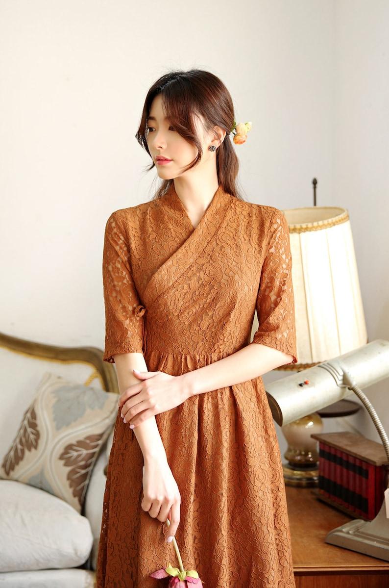 Modern Hanbok Dress Hanbok Inspired Modern Hanbok Dress Hanbok Women Brown Lace Modern Hanbok Korean Korean Modern Hanbok