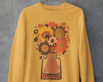 70s sweatshirt - Boho Sweatshirt - 70s shirt - 70s Tshirt- Vintage Sweatshirt- Vintage Jumper-  Butterfly - 70s Clothing- Vintage 70s-Yellow