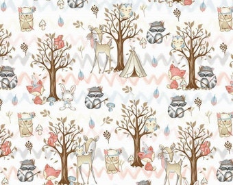 Forest light grey bear hedgehog 100/% cotton fabric printed width 160cm kids boys