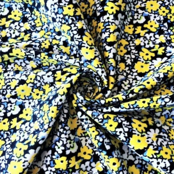 Cotton Lycra Jersey 4 Way Stretch Fabric Yellow Florals SQ258 YLWH By Tia Knight