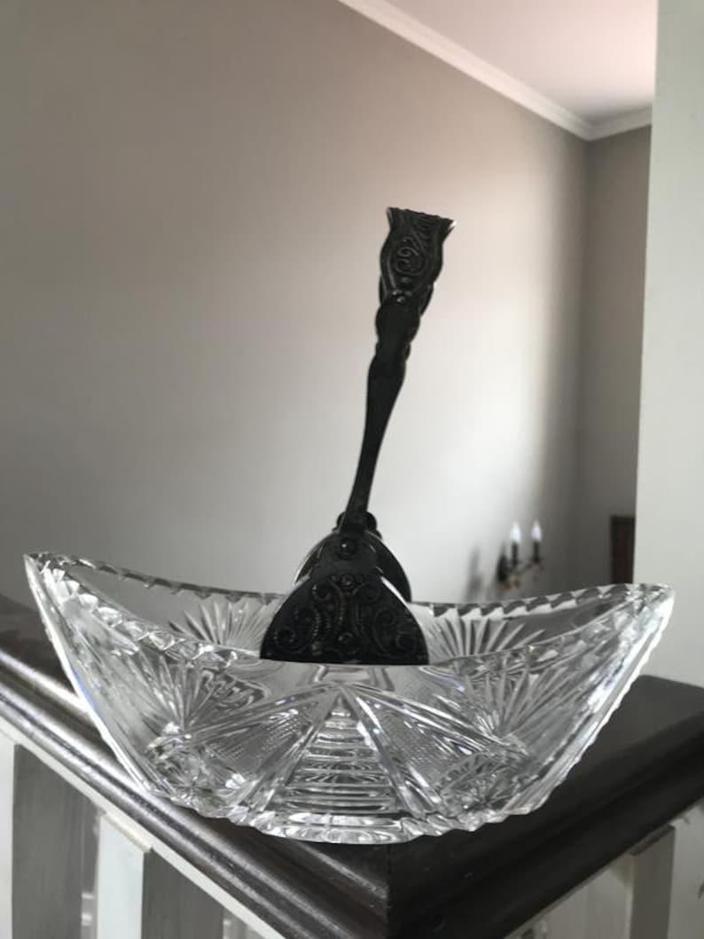 vase vintage des années 1960 pour les bonbons Fruit Bowl Dish Vase Cupronickel URSS Russie argent Boho Cut Crystal Made in Ussr