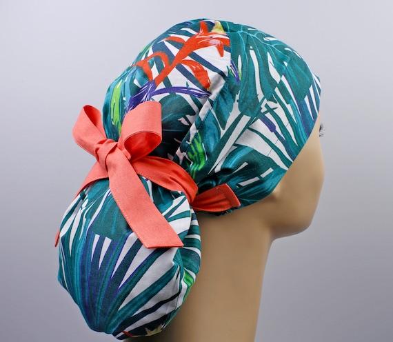 Ponytail scrub cap Medical scrub cap with ponytail holder surgery cap Surgical cap with ponytail Scrub caps for women
