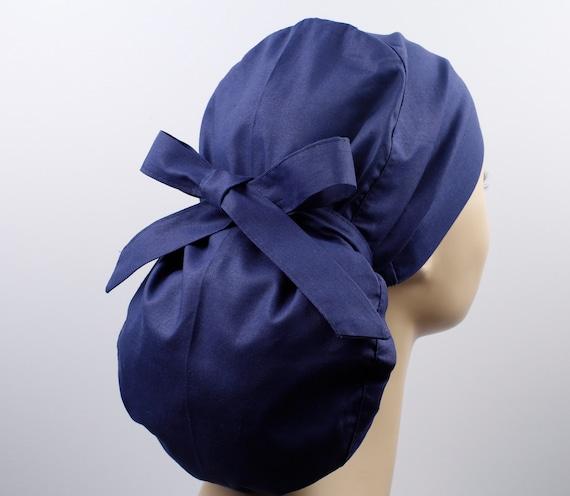 Surgical Hat Delilah Light Navy Check Print Ponytail Scrub Cap for Women Scrub Hat