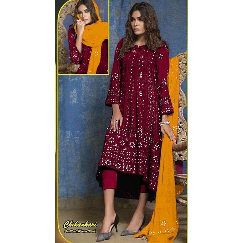 Real Mirror Worked Black Color New Designer Chikankari Anarkali Trouser Suit Stitched Pakistani Wear Up Down Anarkali Kurti Plazo Pant Dress