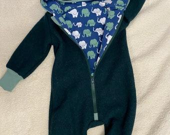 Walksuit Walkoverall Blue Grey Mint Eucalyptus with Zipper and Hood