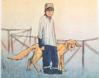 Powers - Risograph Zine, Comic about teenagers, dog, rewilding, fantasy, surrealism, dolmen, boarding school, brass band, eco-friendly print