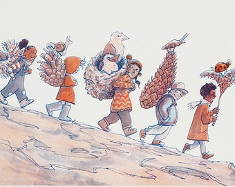 Autumn Parade - A5 riso print, miniprint, risograph, retro comic illustration, nature, pinecone, seasonal, gift for kids, gift for grandma