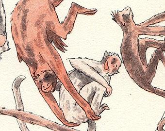 A Mischief of Monkeys - A3 riso print, riso poster, art print, monkey illustration, spider monkey, kids room, kids illustration, animal art