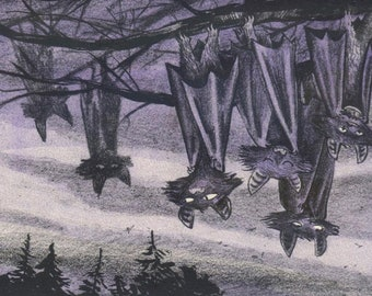 Bats! riso print, A5 print, risograph, bats, hallowe'en, spooky, mysterious, hanging bats, small gift, wild animals, night, small gift