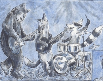 The Scavengers - riso print, A3 poster, illustration, animals, band, music poster, rock'n'roll, jazz, live music, gift for music lover