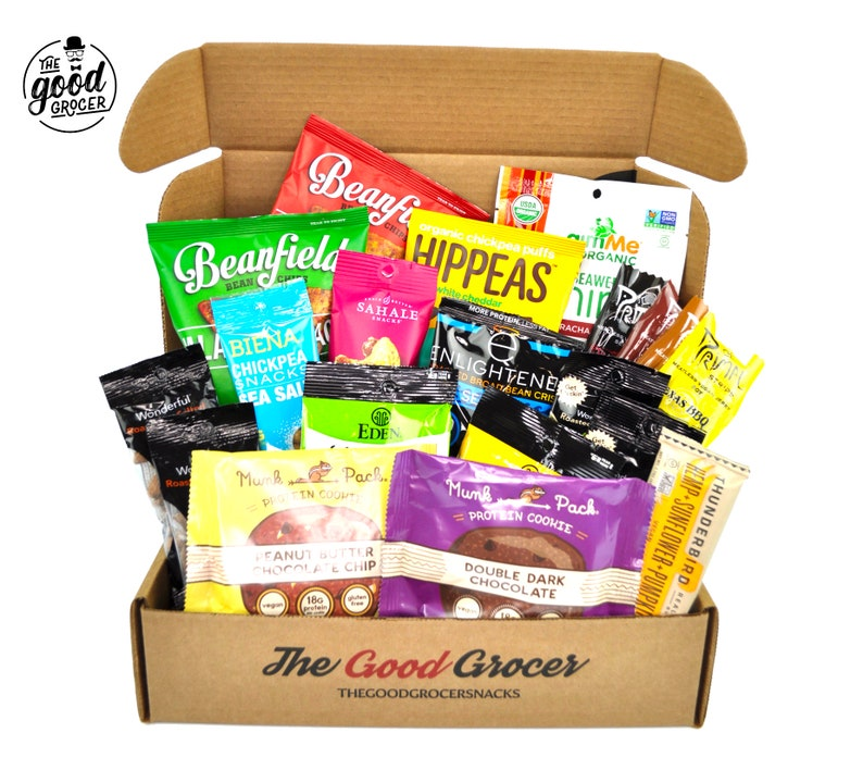 The Good Grocer college care package filled with high protein, vegan snacks