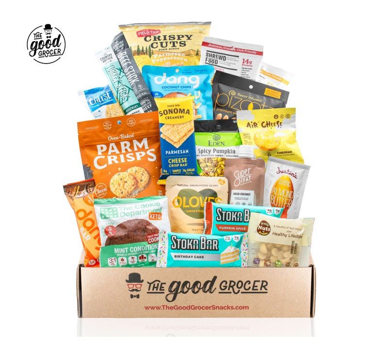 care package with assorted keto friendly food and snacks