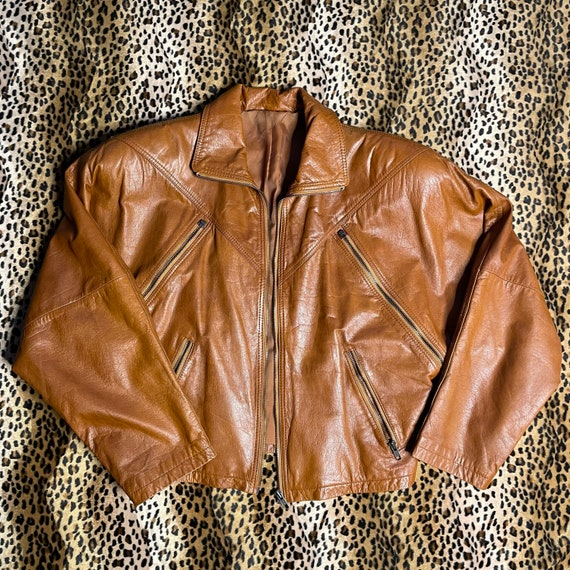 Vintage balloon biker jacket cognac color genuine