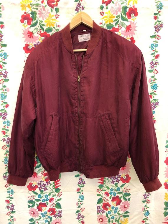 Pure silk bomber jacket in aubergine color unisex