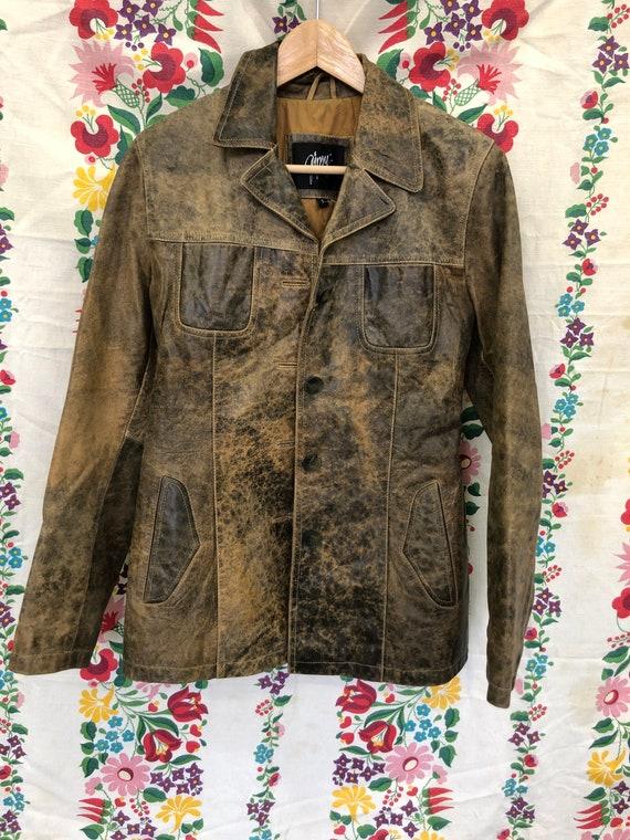 Acid wash brown leather blazer button jacket unise