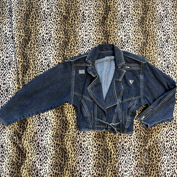 Vintage dark denim biker jacket with painted detai