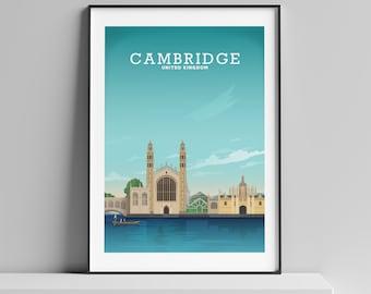 Cambridge England UK Art Print \u201cTrinity College\u201d Cambridge University Cambridge Map Cambridge Wall Art Cambridge Print