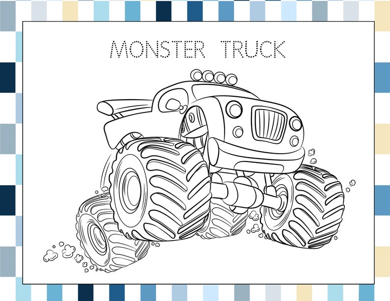 Monster Trucks Coloring Pages for Kids PDF File Instant | Etsy