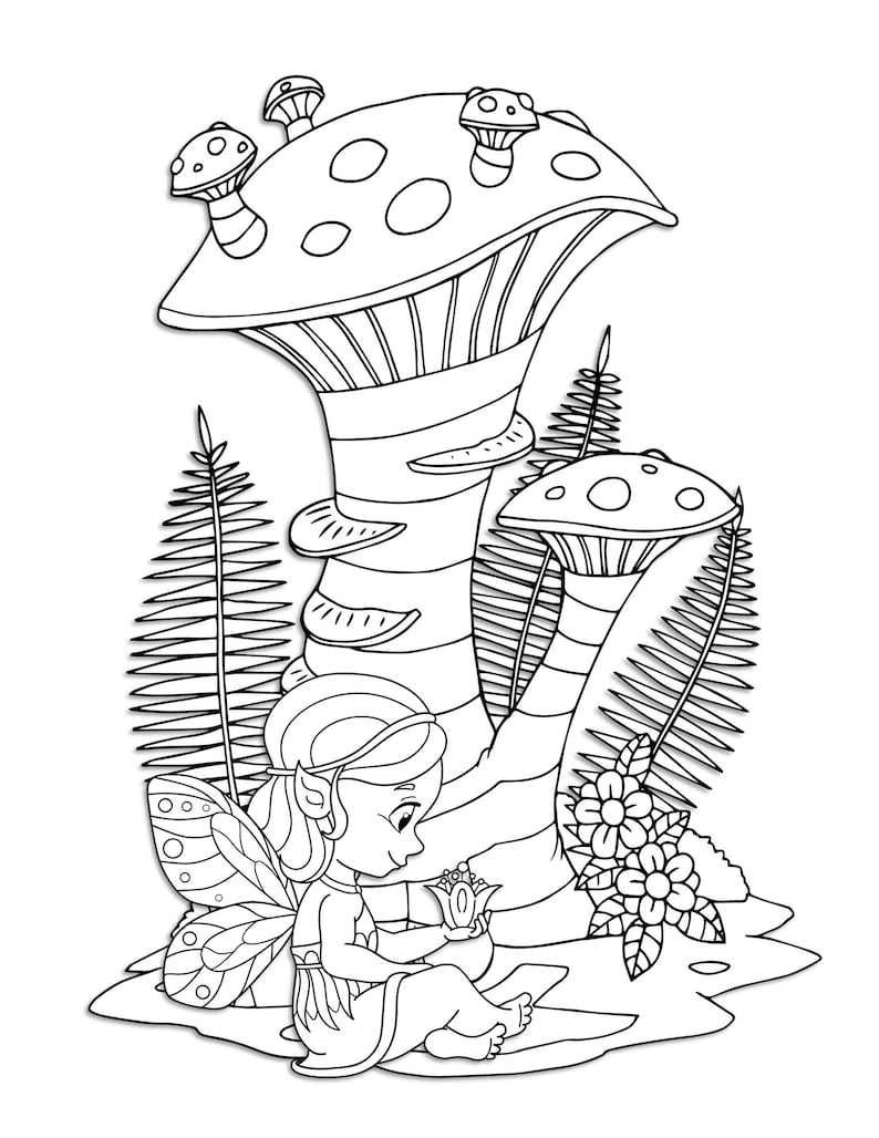 Fairy Woodland Garden Scenes Coloring Pages for Kids ...