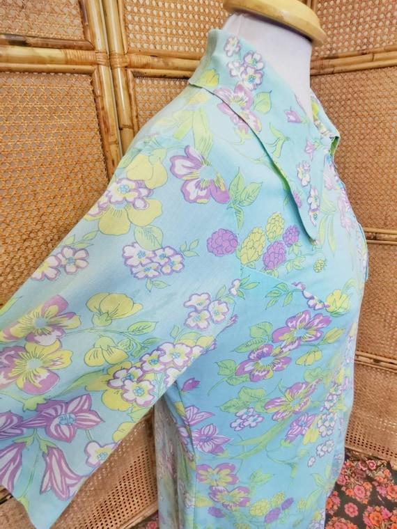 1960s /70s aqua floral shirt dress with dagger co… - image 3