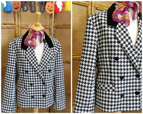 Vintage 80s houndstooth jacket, double breasted bl
