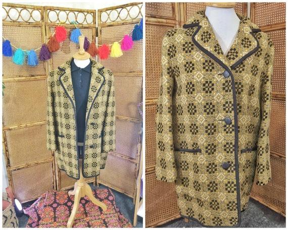 Vintage Welsh wool coat, mustard yellow vintage co