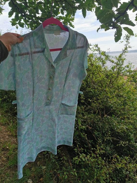 70s paisley green dress, vintage 70s dress, 70s m… - image 8