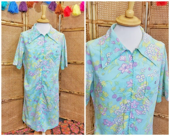 1960s /70s aqua floral shirt dress with dagger co… - image 1
