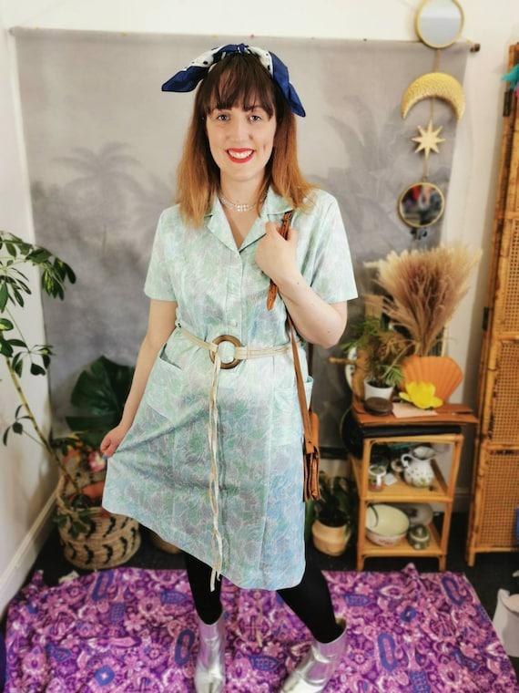 70s paisley green dress, vintage 70s dress, 70s m… - image 2