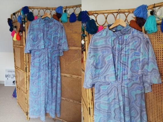 1970s maxi dress, 70s psychedelic maxi dress, Cape