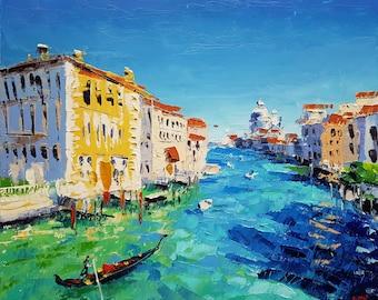 Italy Painting Venice Original Art Venice Small Wall Art Landscape Impasto Oil Painting 10 by 8 by Smirnova Marina
