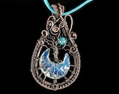 Opalit Tree of Life Necklace in the moonlight / Wire Wrapping Copper Pendant / Original Jewelry