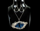 Blue Frost Dragon Eye Stainless Steel Set / Wire Wrapped Earrings and Pendant / Antique Victorian Gothic Accessoire